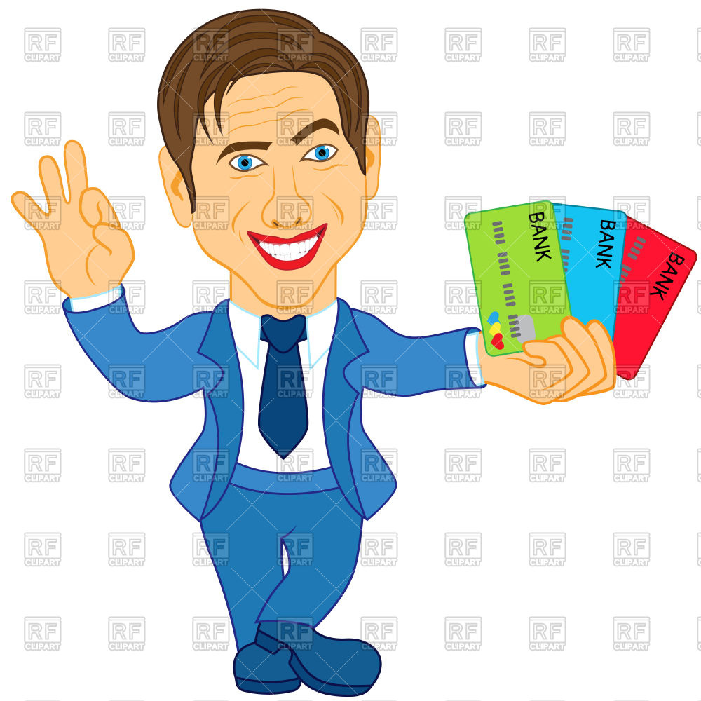Smiling man with credit cards and gesticulate okay.