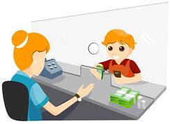 Opening an Account with Banker Clip Art.