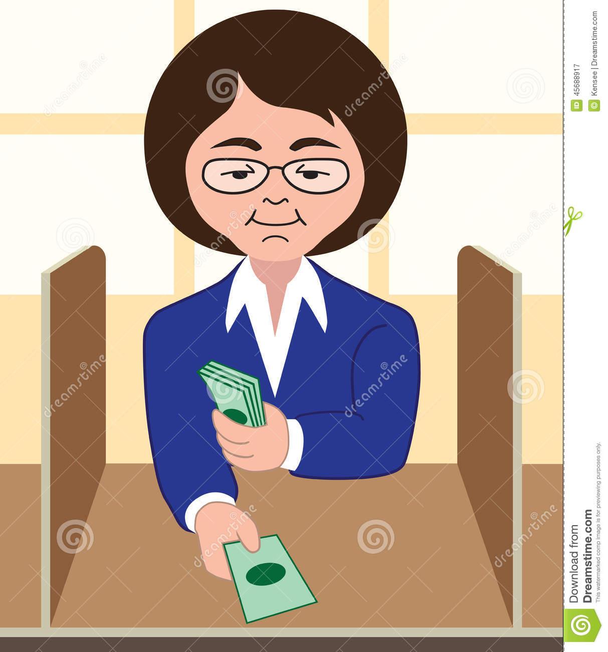 Woman Banker Clipart.