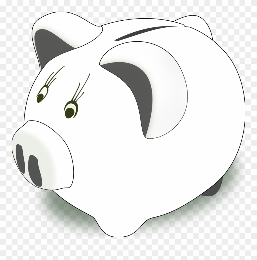 Piggy Bank Clip Art Black And White Free Clipart.