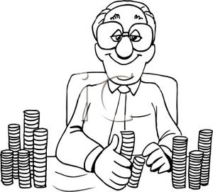 Banker clipart black and white, Banker black and white.
