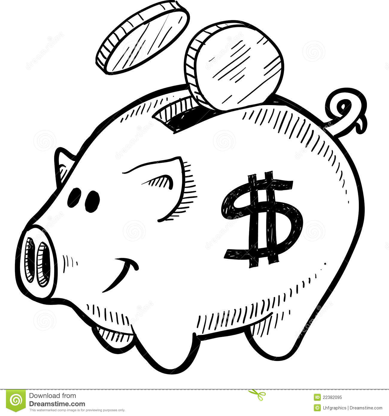 Piggy Bank Clipart Black And White.
