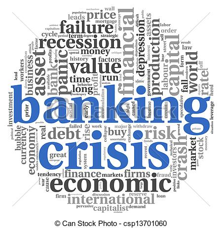 Stock Illustration of Banking crisis concept on white.