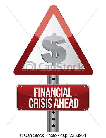 Clip Art Vector of warning road sign with a financial crisis.