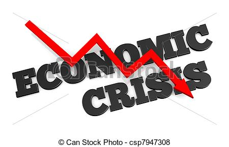 Stock Illustration of Concept of economic crisis, a 3D rendering.
