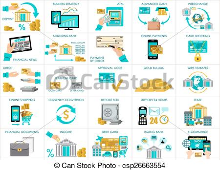 Clipart Vector of Big bank set. vector, containing illustrations.