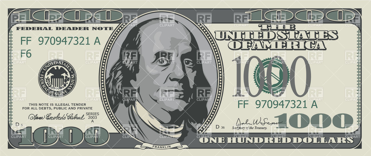Fake one thousand dollars banknote Vector Image #9521.