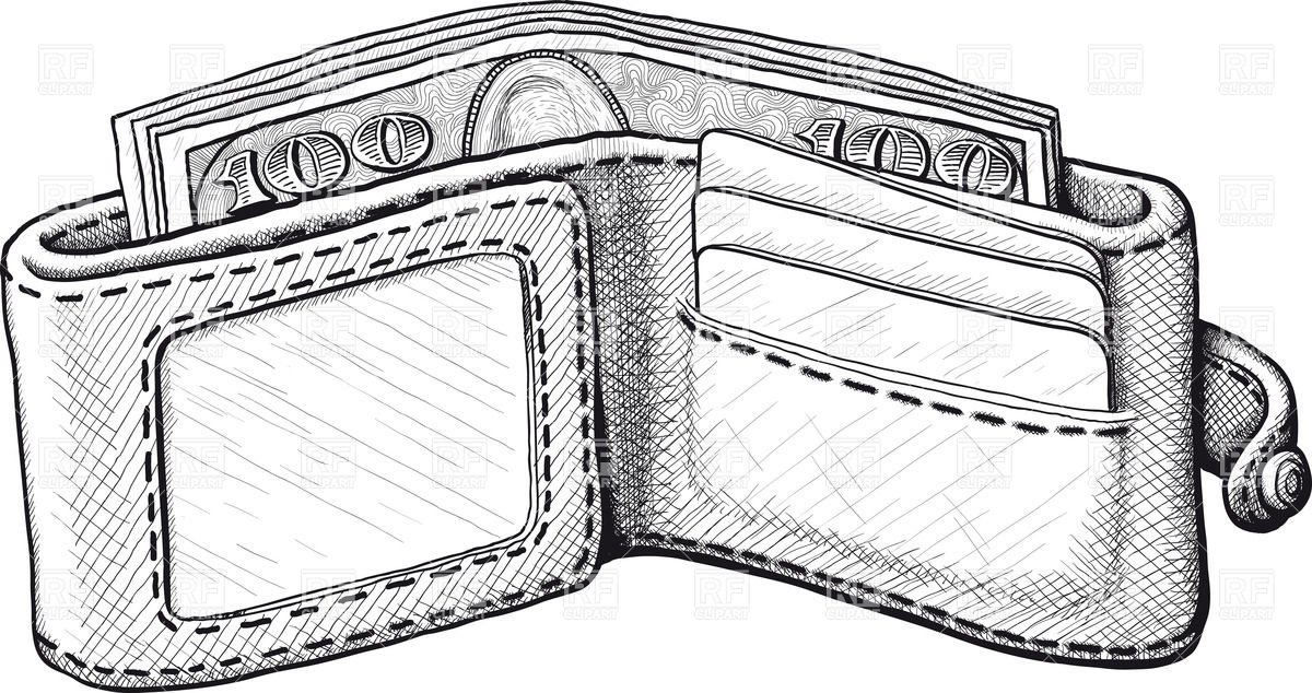 Disclosed leather wallet with dollars (banknotes) and plastic card.