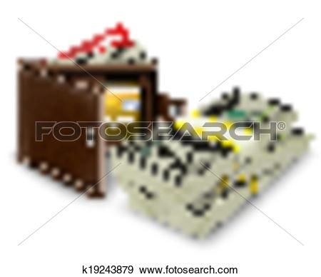 Clip Art of Leather wallet with credit card and bank roll.