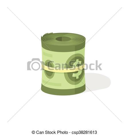 Vector Clip Art of Money roll 3d vector icon, bankroll dollar bill.