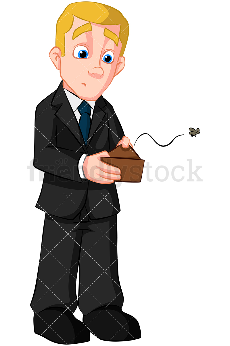 A Broke Businessman Looking For Cash In His Empty Wallet.
