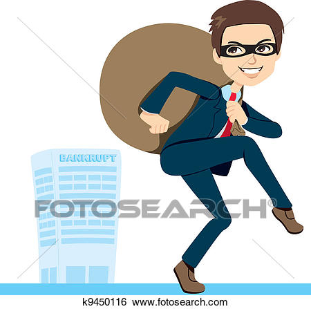 Thief Businessman Bankruptcy Clip Art.