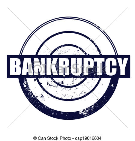 Vector Clipart of bankruptcy stamp.
