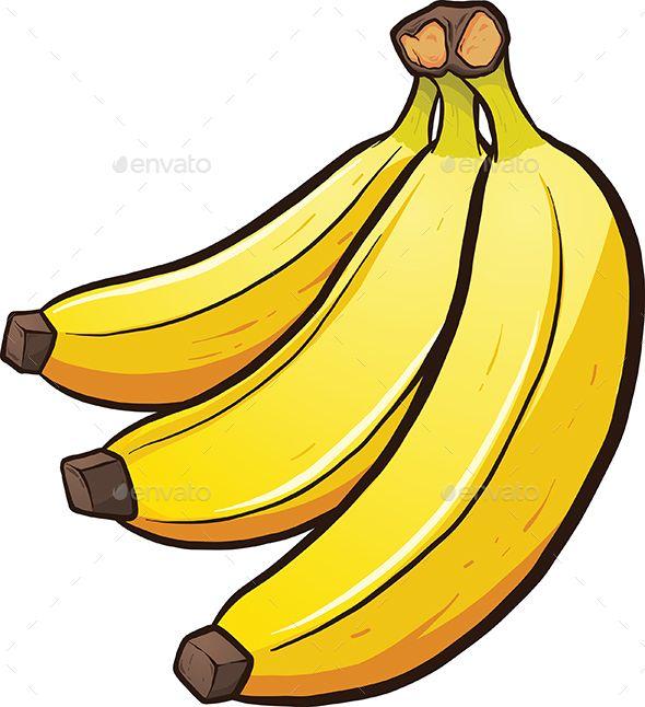 A bundle of cartoon bananas. Vector clip art illustration.
