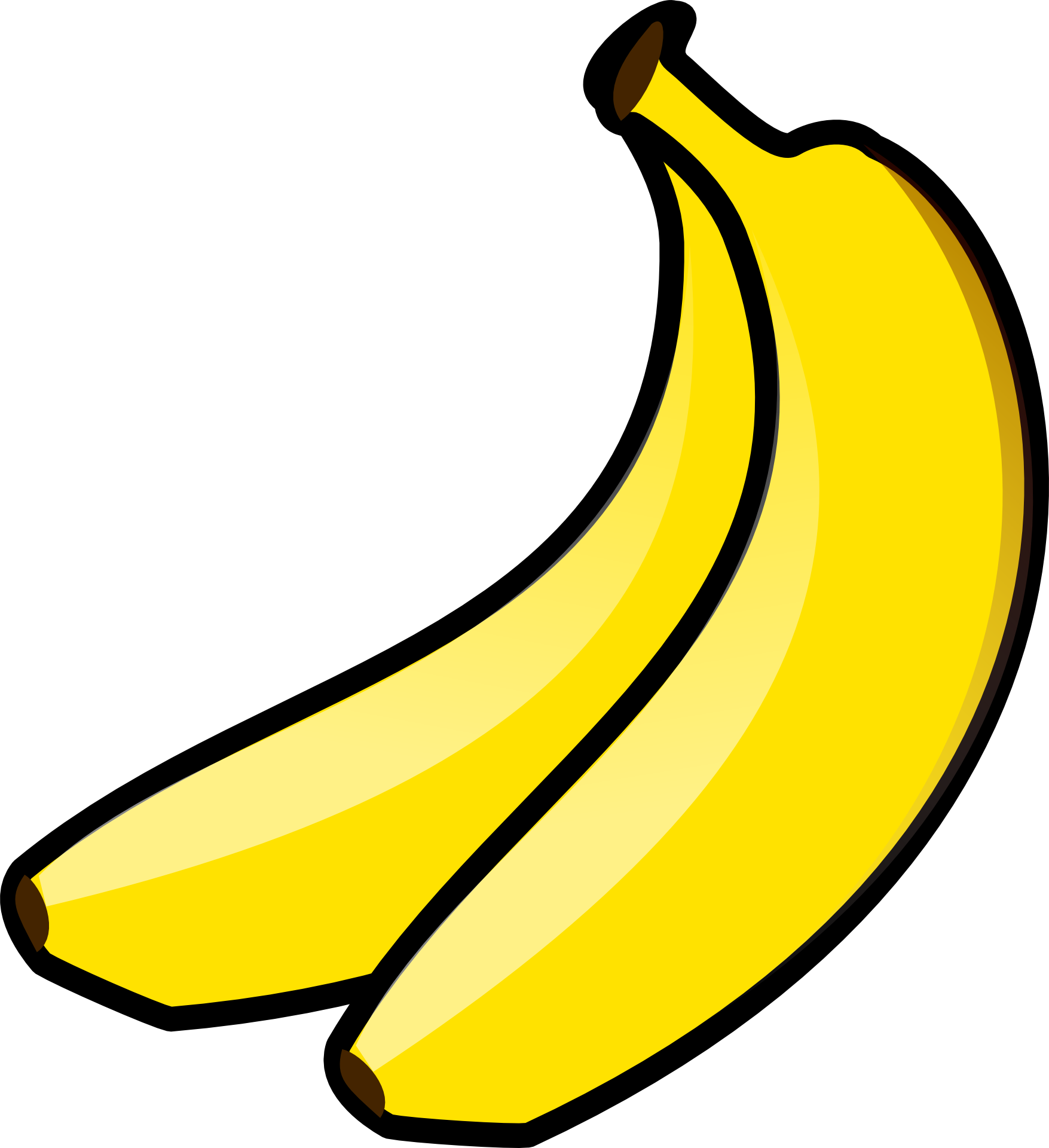 Clipart,two juicy bananas free image.