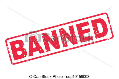 Vector Clipart of stamp banned with red text on white.