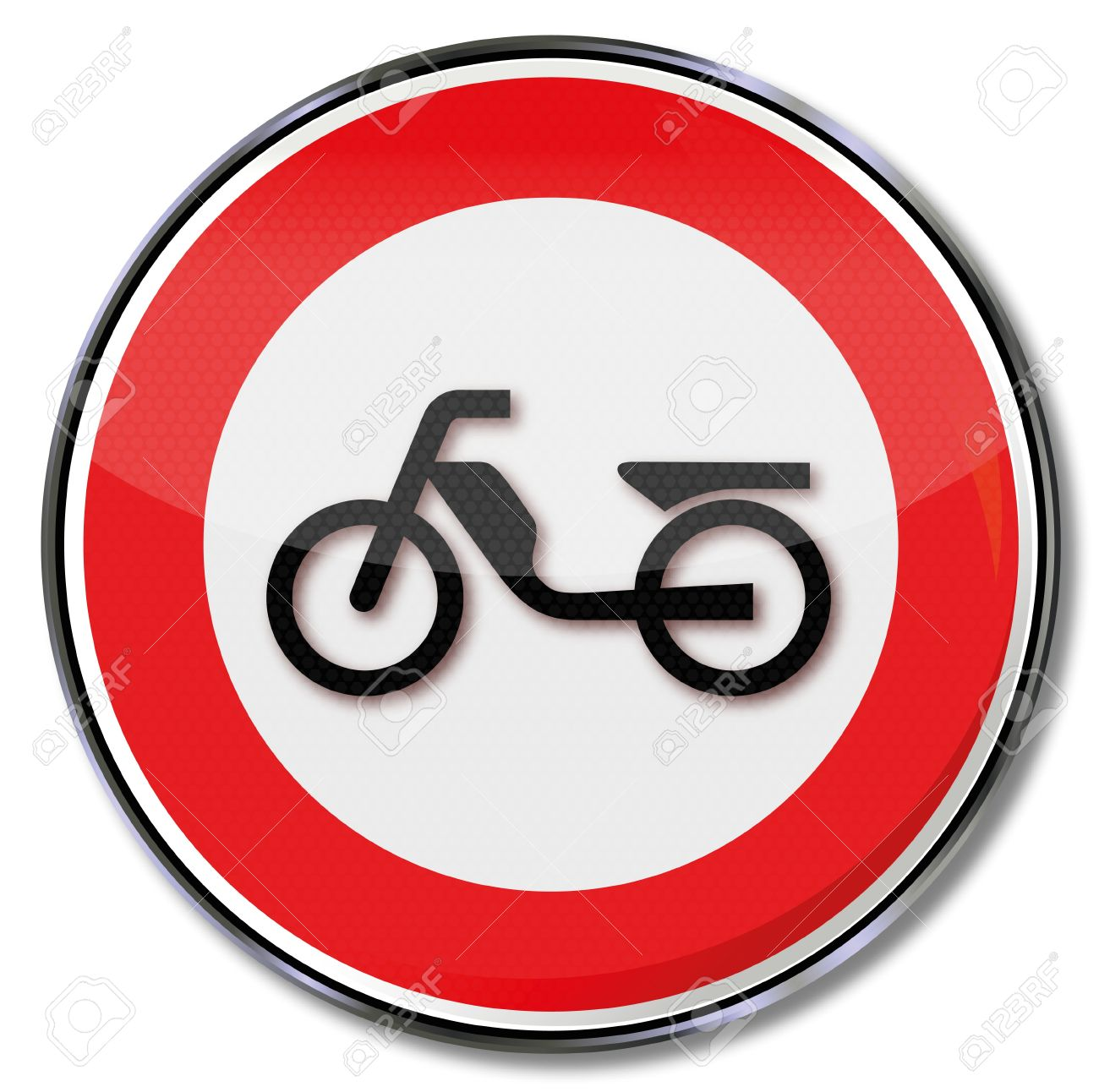 Moped And Motorcycle Traffic Sign Prohibiting Royalty Free.