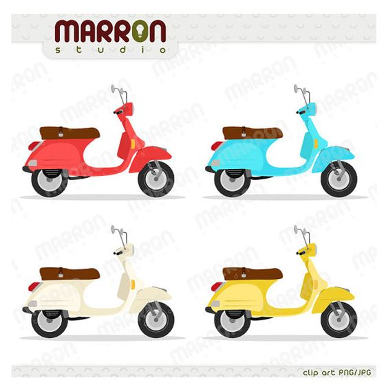 Vespa, vintage italian scooter, cool colors Clip Art Instant.