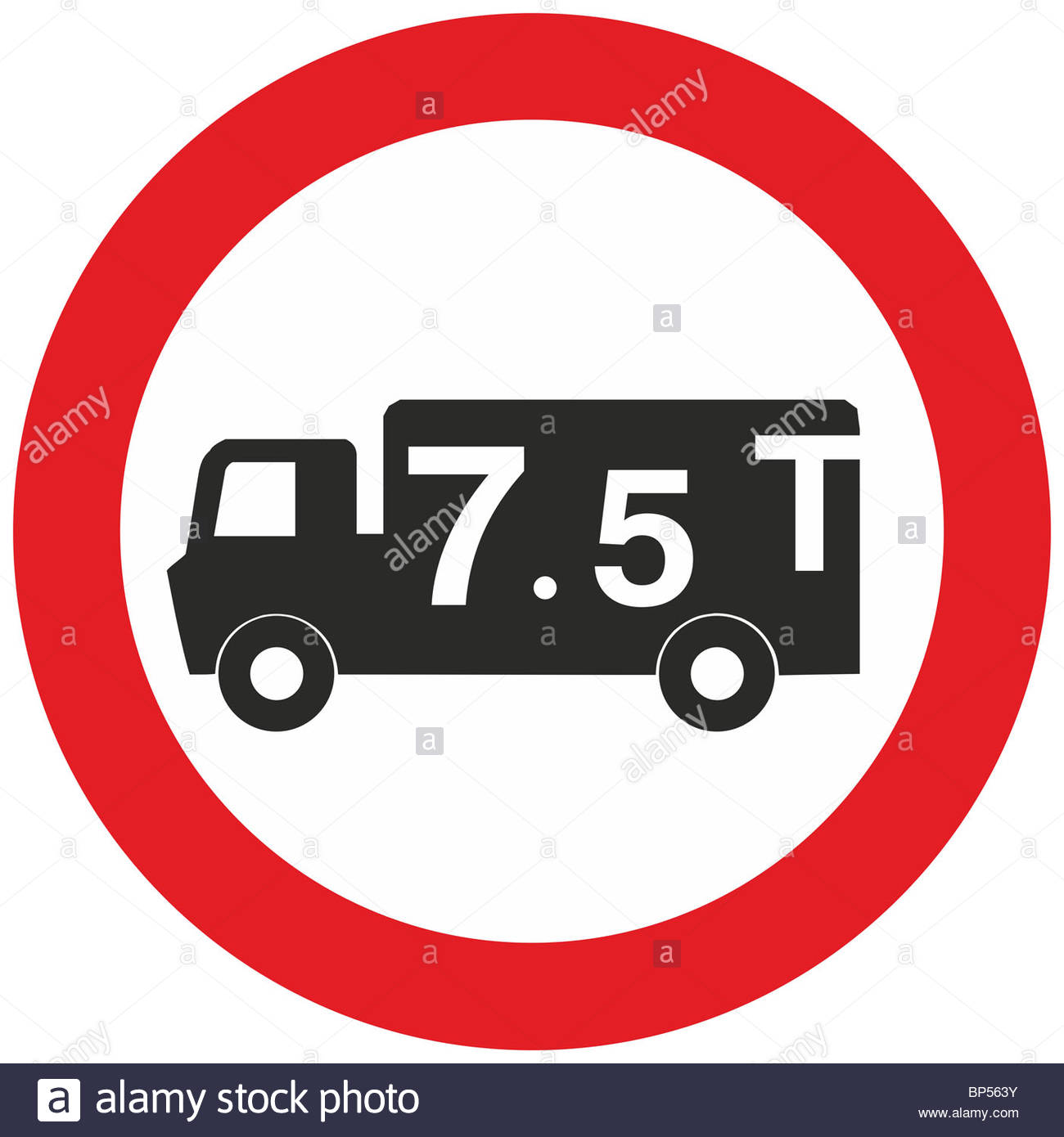 Uk Road Sign Weight Limit 7.5t Lorry Truck Hgv Banned Ahead.
