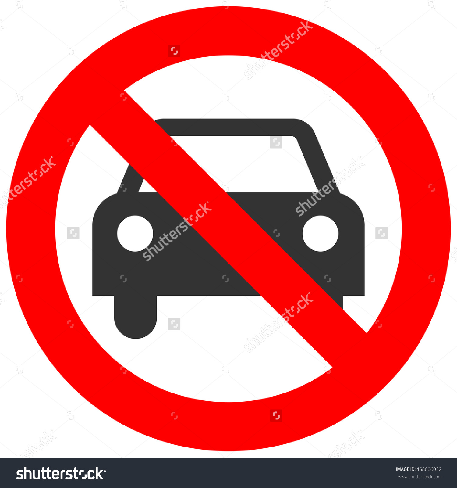 Prohibition Sign Car Icon Isolated On Stock Illustration 458606032.