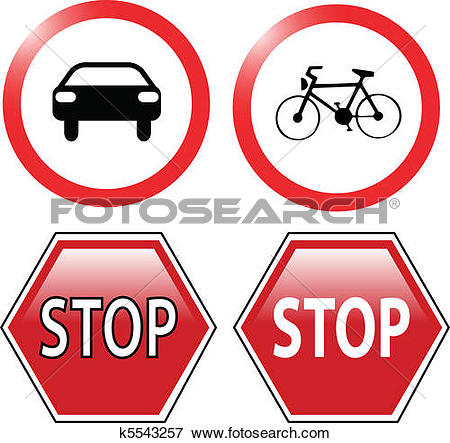 Clip Art of traffic ban and stop signs k5543257.