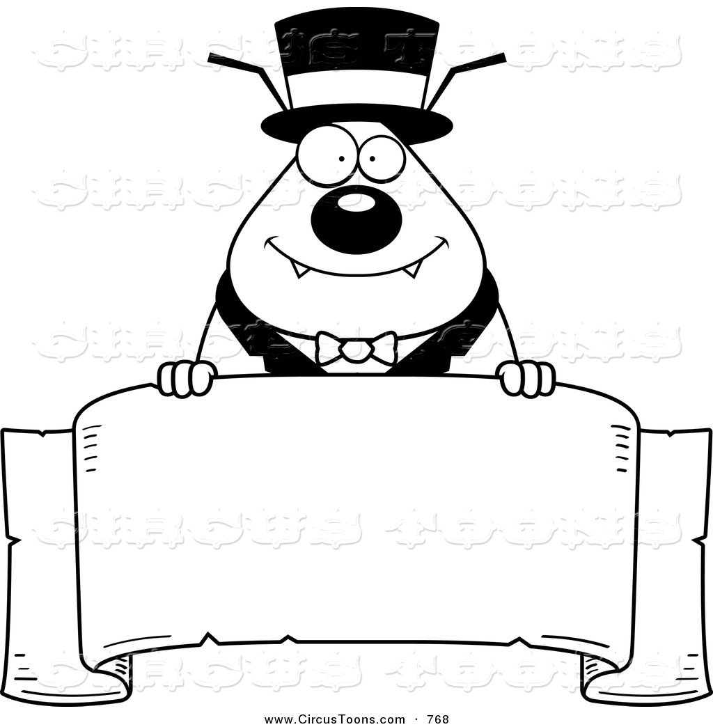 Circus Clipart of a Black and White Ringmaster Flea Holding a.