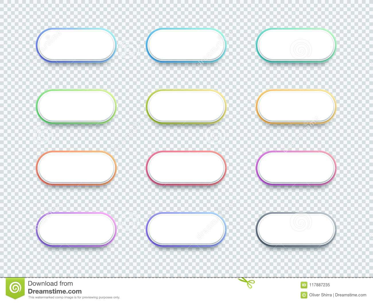 Vector 3d Shape White Text Box Banner Elements Set Of 12 Stock.