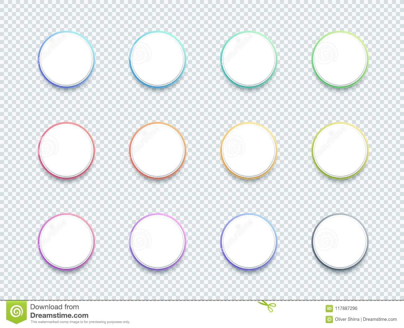 Vector 3d Circle White Text Box Banner Elements Set Of 12 Stock.