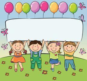 Verão crianças segure em branco banner.