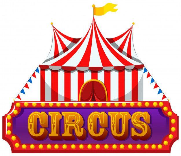 Um Banner De Circo No Fundo Branco.