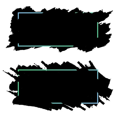 Two black banners,headers of ink brush strokes,vector set.