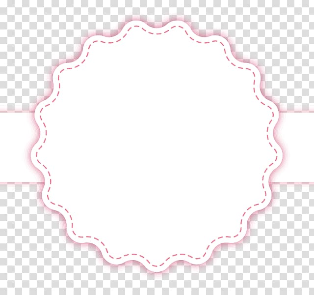 Scalloped edge white and red banner, Circle Area Pattern.