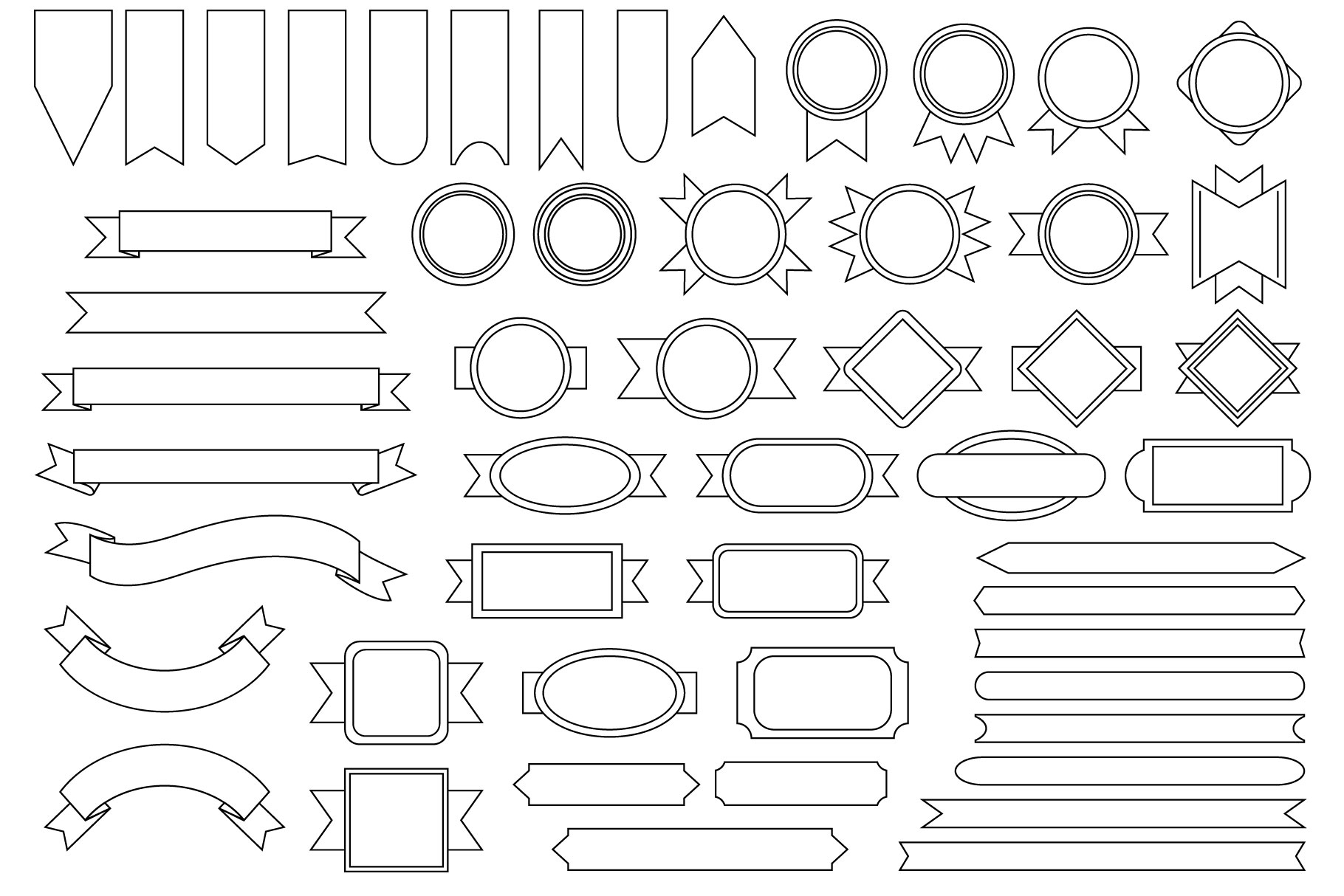 Outline Badge & Banner Clip Art Set.