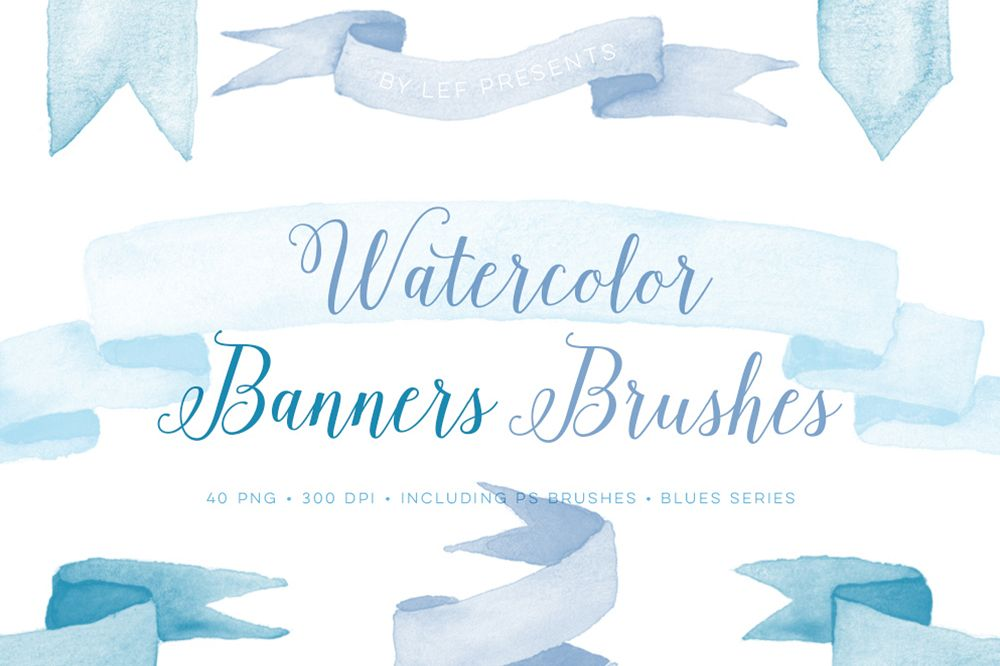 Photoshop Brushes Watercolor Banners with bonus blue clipart.