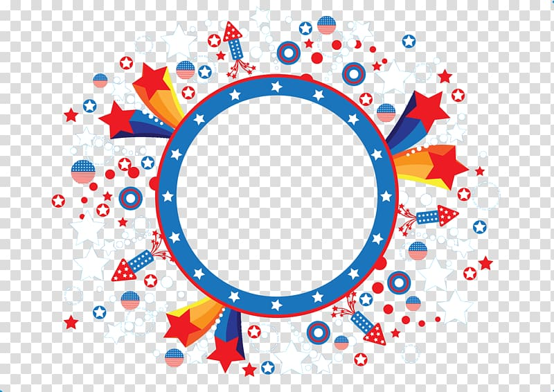 Circle Euclidean Icon, Banners, white, red, and blue stars.