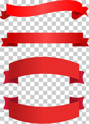 Ribbon Banner , ribbon, four red ribbons illustration PNG.