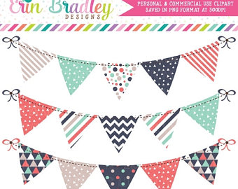 ON SALE Bunting clip art, flag banners scrapbooking bunting.