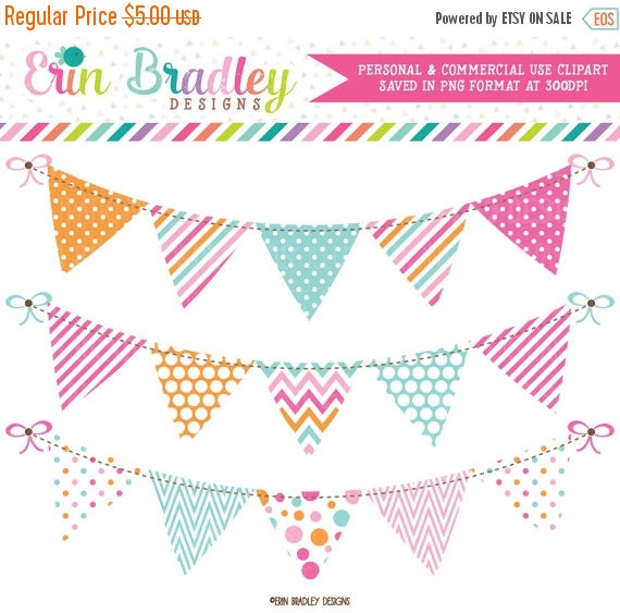 70% OFF SALE Pink Blue Orange Bunting Banner Flag Clipart Graphics.