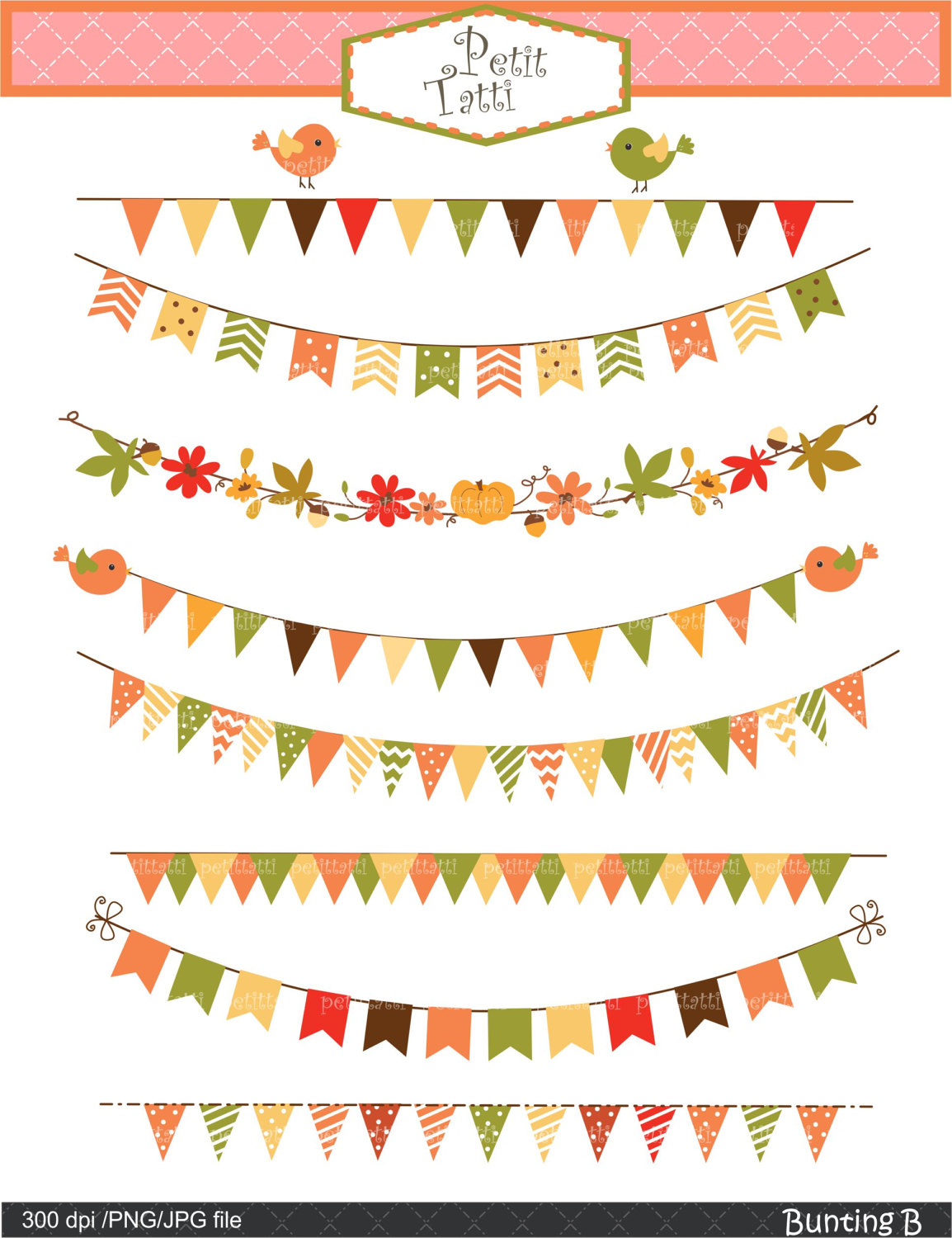 ON SALE bunting Digital Clip art ,Banner Flag Clip art, pumpkins.