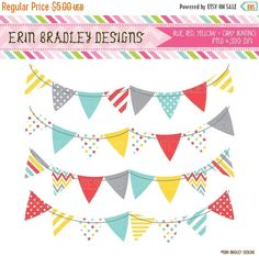 Brightly Colored Pennant Banner Flags Clipart.