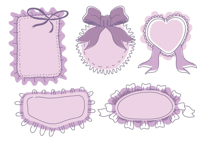 Banner Frame Frills Ornament Hand Drawn Vector.