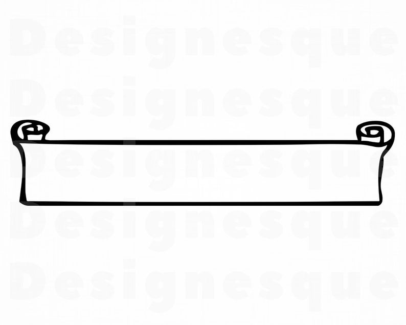 Banner Outline #2 SVG, Banner Svg, Ribbon Svg, Label Svg, Scroll Svg,  Banner Clipart, Files for Cricut, Cut Files For Silhouette, Dxf, Png,.