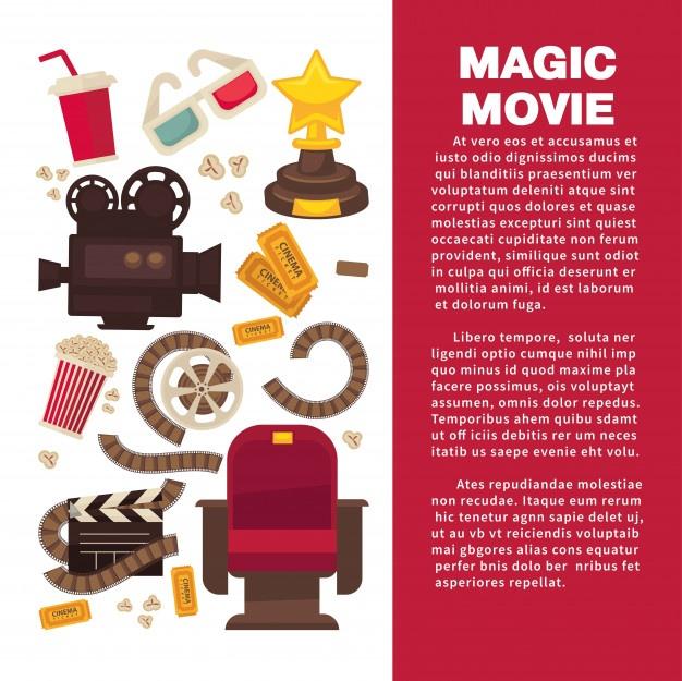 Banner publicitario de cine con equipamiento cinematográfico.