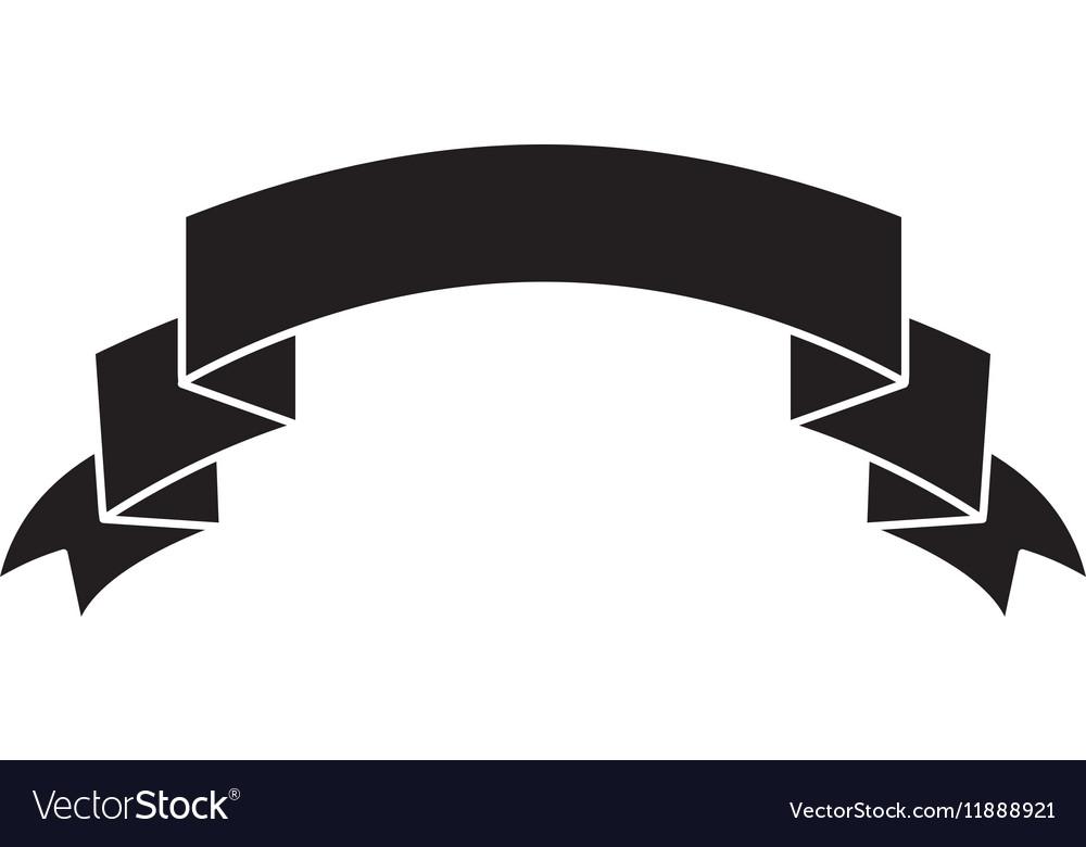 Silhouette ribbon banner black empty design.