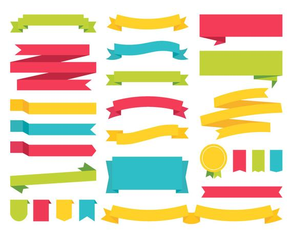 Banners & Ribbons / Vector and PNG / Colorful Clipart Flag Labels Red Blue  Green Yellow Illustrations Scrapbook Elements / Digital Download.