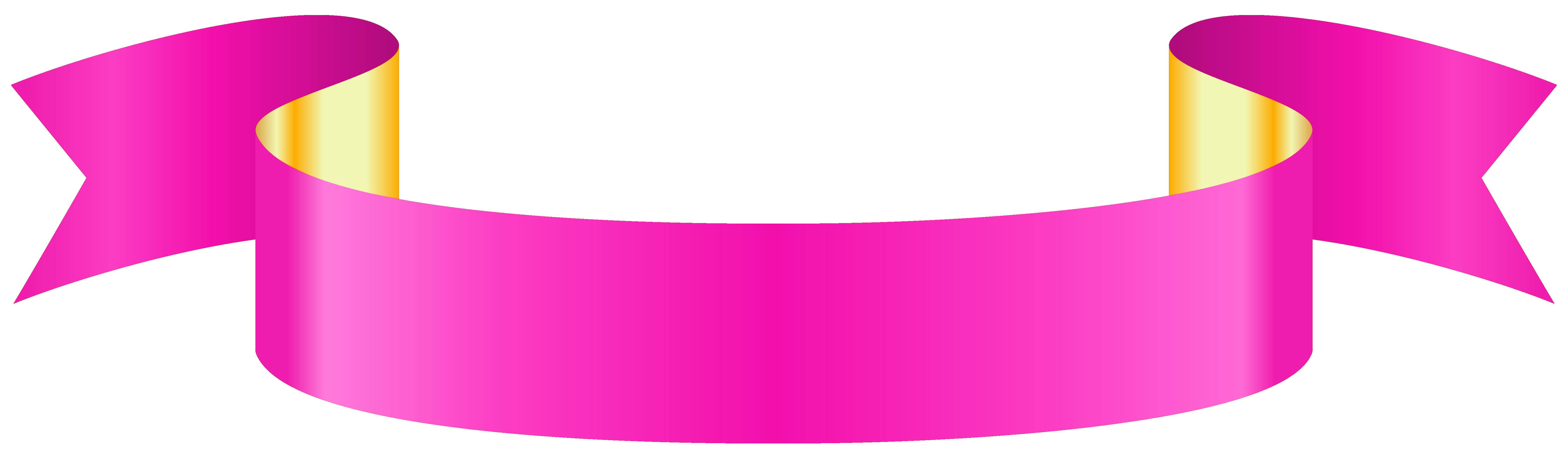 Pink Banner Transparent PNG Clip Art Image.