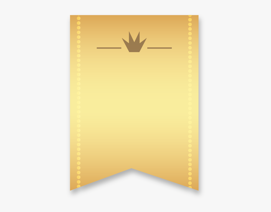 Golden Ribbon Ribbon Banner Vertical With Single Wedge.