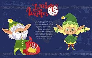 Elves or Santa Helpers, Christmas Holiday Banner.