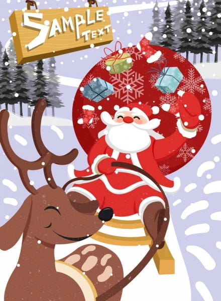 Christmas banner sleighing santa claus icon colored cartoon.