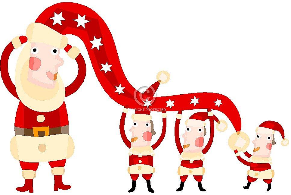 Ancient Christmas banner with Santa.